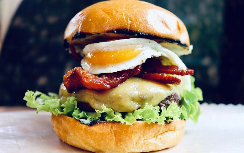 Bacon, Egg & Cheese Burger with Maple Butter