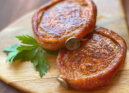 Bacon Wrapped BBQ Glaze Boneless Pork Chops