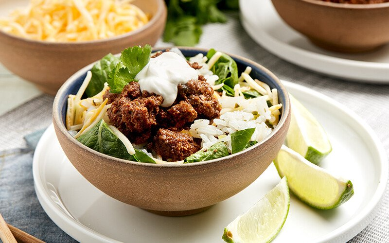 Beef, Cilantro & Lime Rice Bowls