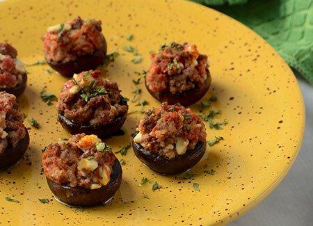 Beef, Tomato & Feta Stuffed Mushrooms