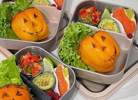 Bento Box Enchilada Ground Beef Jack O' Lantern Stuffed Peppers
