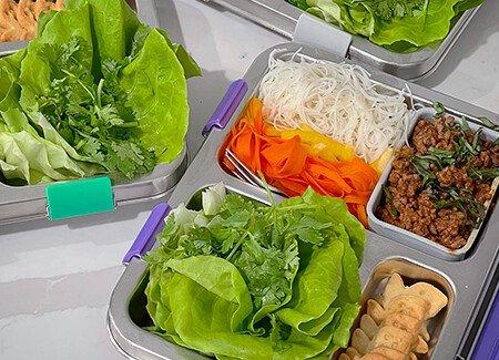 Bento Box Ground Beef Thai Basil Leaf Lettuce Wraps