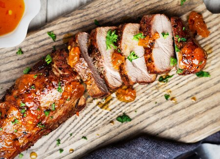 Boneless Pork Shoulder Roast with Apricot and Mustard Glaze