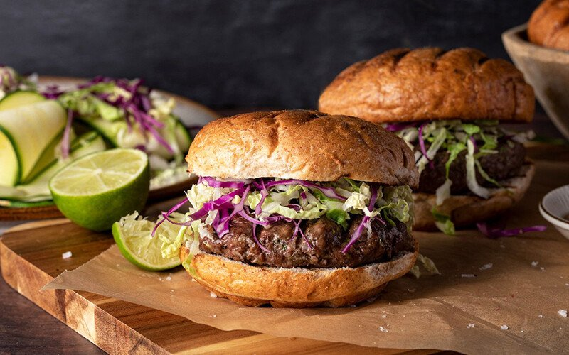 Burger with Brie & Green Apple Slaw