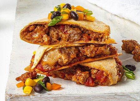 Chili & Cheese Ground Pork Quesadillas