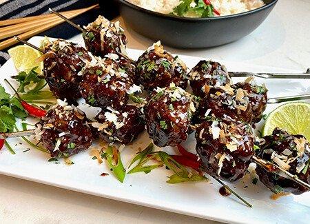 Coconut Hoisin Glazed Grilled Meatball Skewers