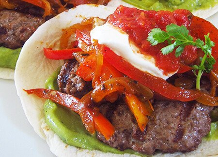 Fajita Burger with Guacamole