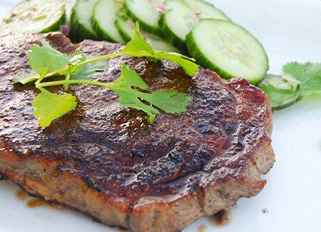 Five-Spice Ribeye with Cucumber Salad