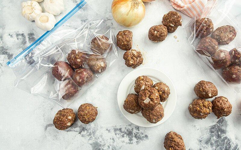 Freezer Bag Ground Beef Meatballs