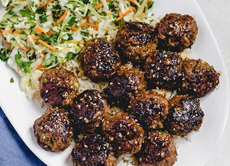 Glazed Asian Meatballs with Cilantro Slaw