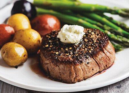 Grass-Fed Filet with Peppercorn, Garlic Butter, Potatoes & Asparagus
