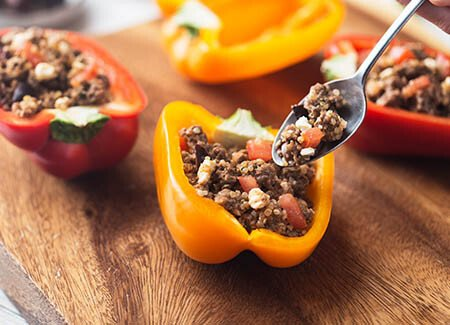 Greek Stuffed Peppers for Two