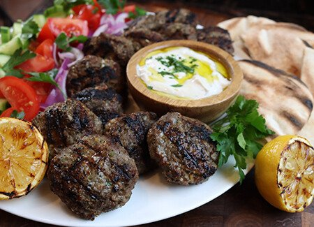 Grilled Beef Falafels with Yogurt Tahina