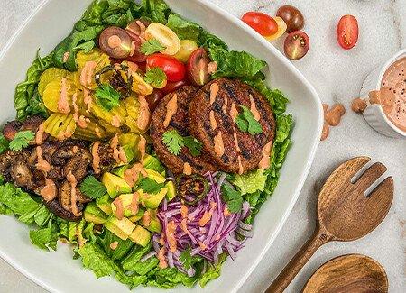 Grilled Classic Plant-Based Burger Salad