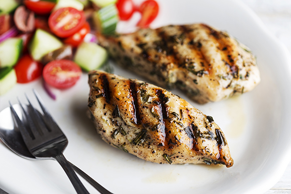 Grilled Greek Chicken with Cucumber-Tomato Salad