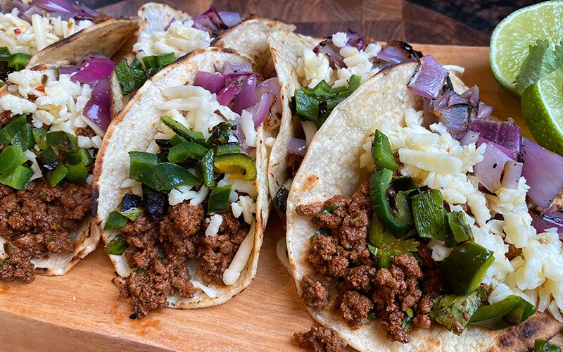 Grilled Ground Beef & Poblano Tacos