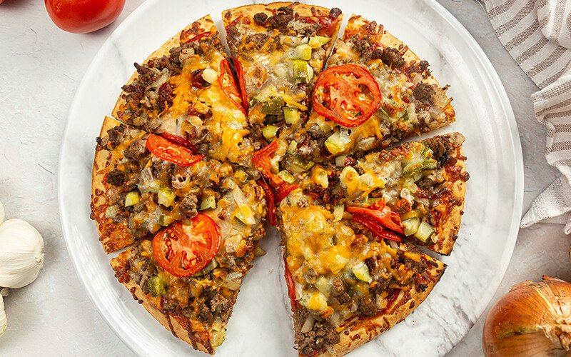 Ground Beef Cheeseburger Pizza