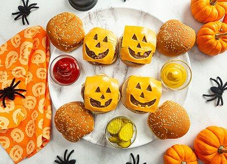 Halloween Jack O' Lantern Cheeseburgers