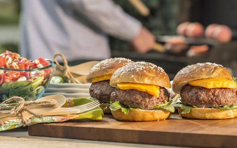 Horseradish Steak Burger on a Pretzel Bun