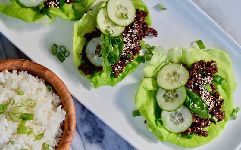 Korean Beef Lettuce Wraps with Coconut Rice