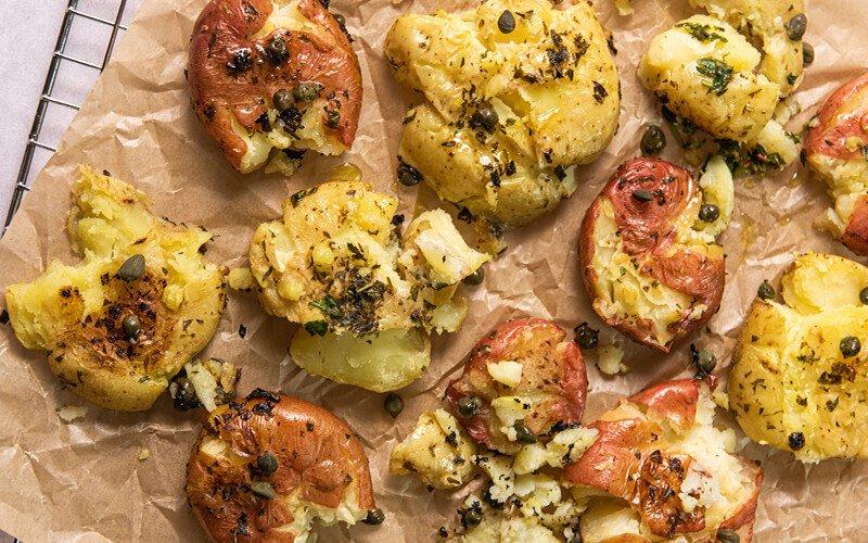 Lemon Herb Smashed Potatoes