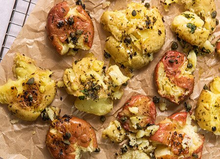 Lemon Herb Smashed Potatoes