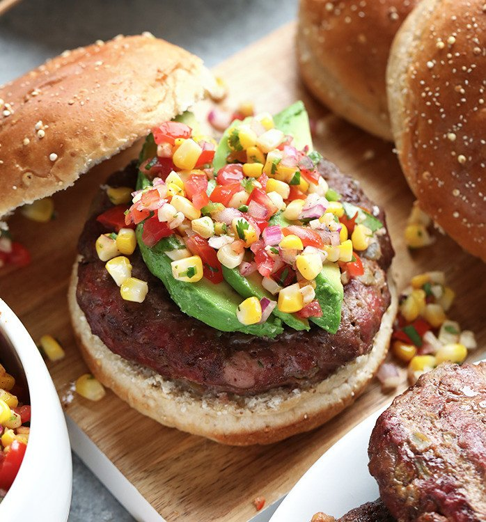 Mexican Style Juicy Lucy Burger with Fire Roasted Corn Pico
