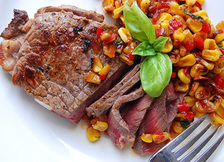 NY Strip Steak with Roasted Corn Relish
