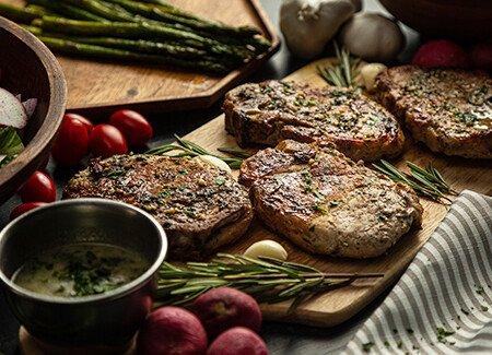 Oven-Baked Rosemary Thyme Garlic Butter Pork Chops