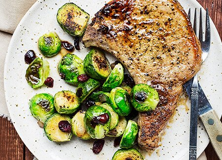 Oven-Roasted Pork Chops with Brussels Sprouts
