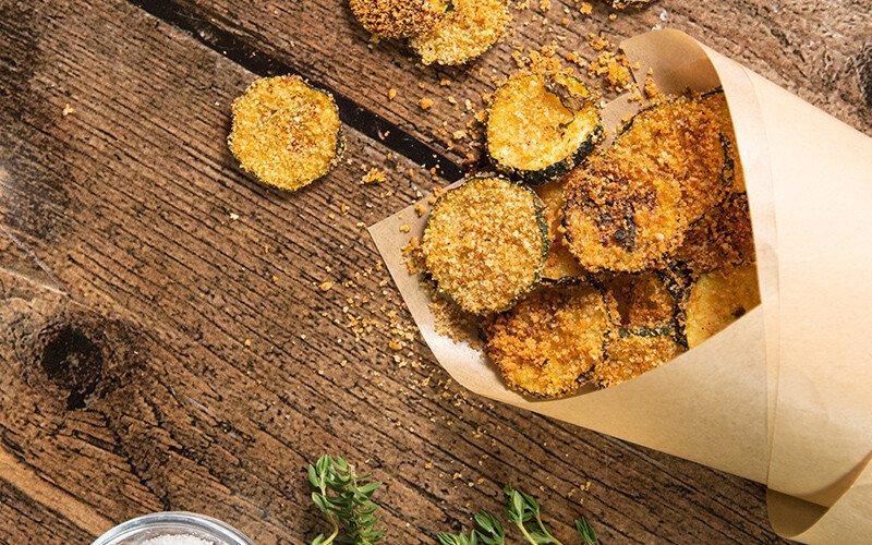 Parmesan & Basil Baked Zucchini Chips