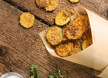 Parmesan & Basil Baked Zucchini Chips