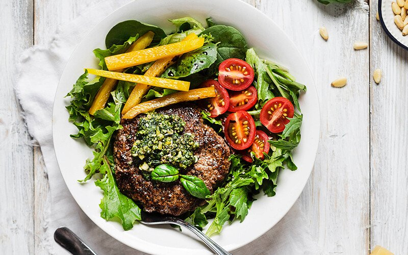 Pesto Burger Bowl