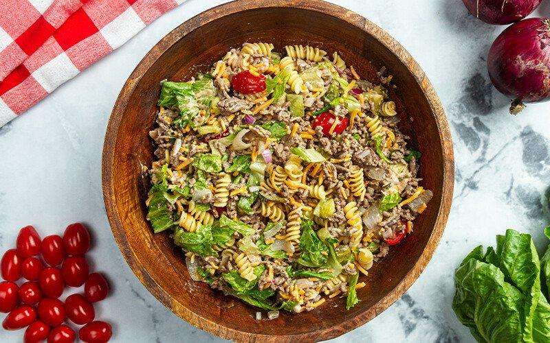 Picnic Ground Beef Cheeseburger Pasta Salad