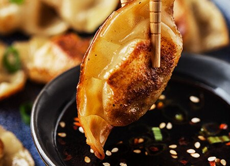 Pork Potstickers with Honey-Soy Dipping Sauce