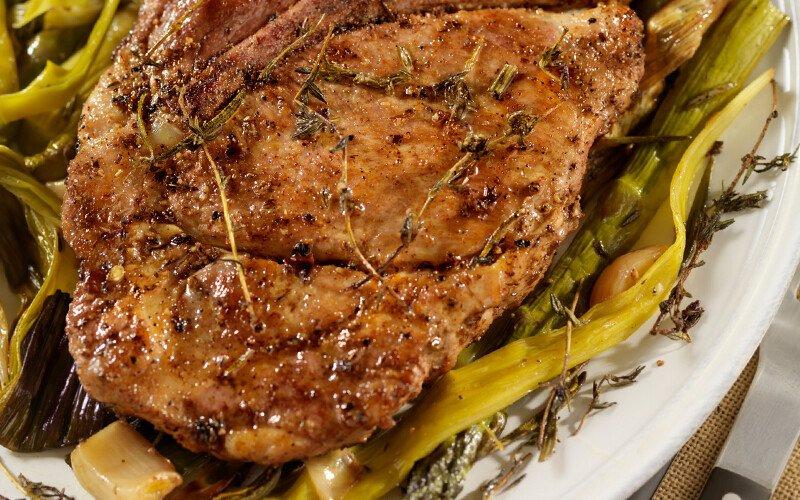 Pork Tenderloin with Melted Leeks