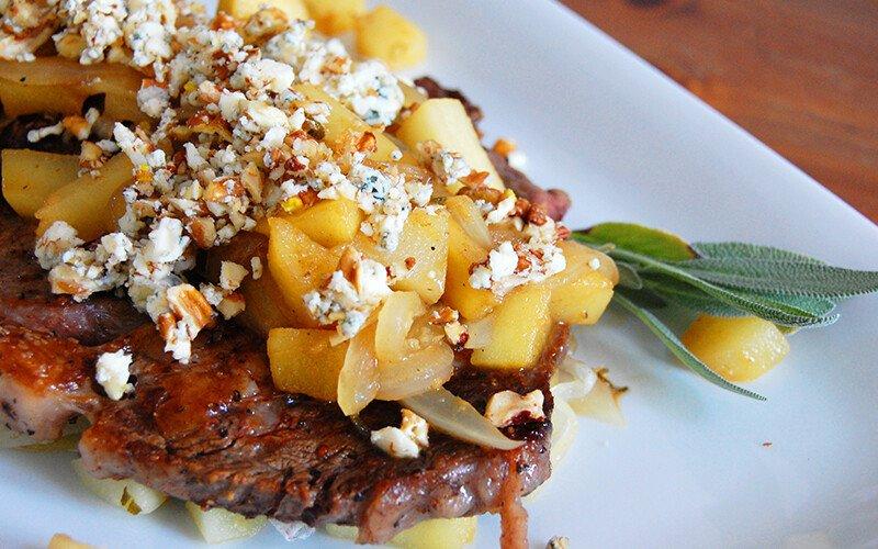 Ribeye Steak with Pears, Apples & Sage
