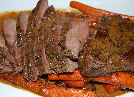 Skillet Roasted Top Sirloin Steaks with Carrots & Mustard Dill Sauce