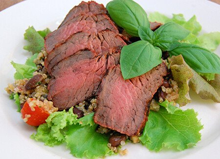 Smoked Sirloin with Quinoa Salad & Lime Dressing
