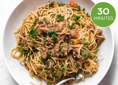 Spaghetti Bolognese with Mushrooms & Rosemary