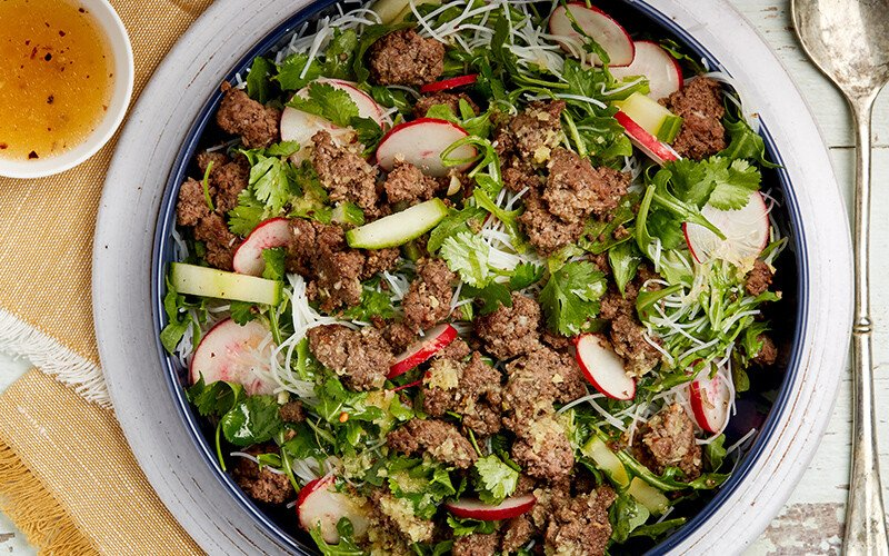 Sweet Chile & Beef Salad with Rice Noodles