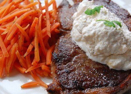 Top Sirloin with Horseradish Cream Sauce & Pickled Carrots