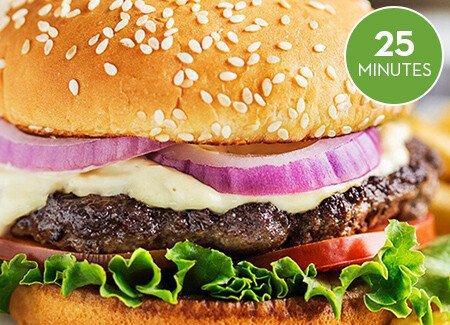Zesty Burger with Horseradish Sauce